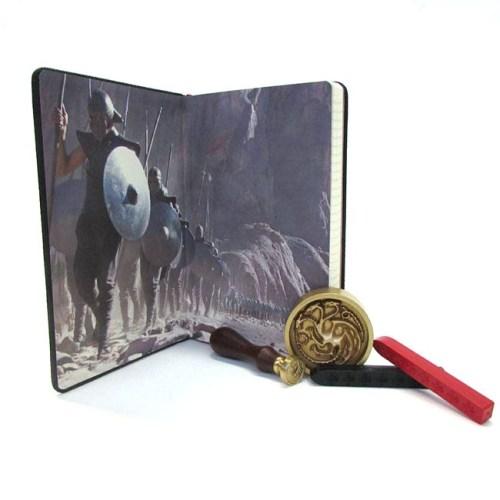 set Notebook Timbro ceralacca carte da lettera buste e fermacarte Targaryen Game of Thrones dettaglio interno copertina