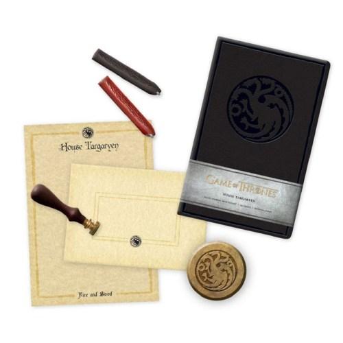 set Notebook Timbro ceralacca carte da lettera buste e fermacarte Targaryen Game of Thrones