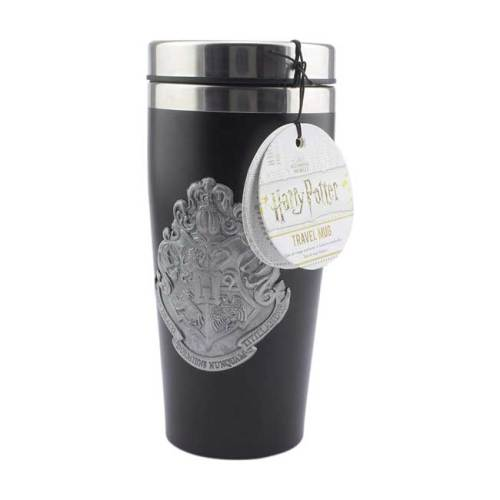 Travel Mug Hogwarts logo metallico Harry Potter