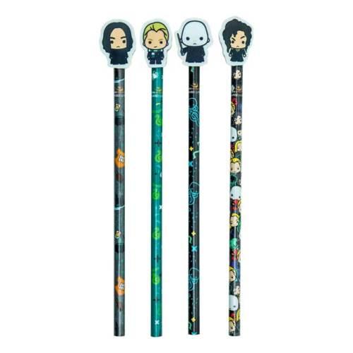 Set Astuccio 4 Matite con gomma e temperino Serpeverde Harry Potter dettaglio matite gomma
