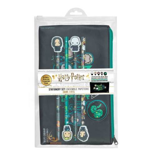 Set Astuccio 4 Matite con gomma e temperino Serpeverde Harry Potter