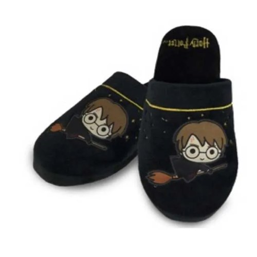 Pantofole nere con stelle Harry Potter chibi su scopa