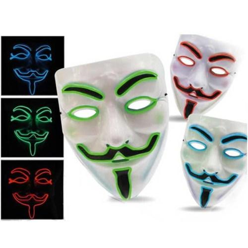 maschera anonymus con neon colori casuali