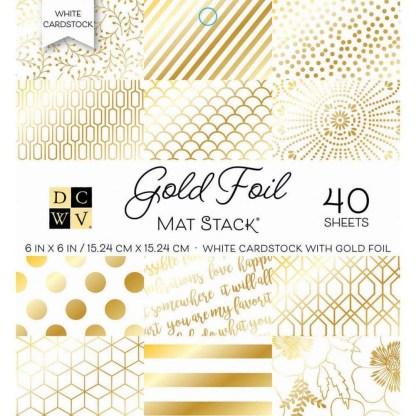 Stack Papeles Estampados 6x6 Gold Foil. DCWV