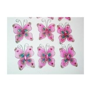 Set de Mariposas de Gasa Rosadas con Sparkle