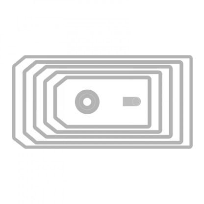 Thinlits Die Set 7PK, Etiquetas Apiladas, Sizzix