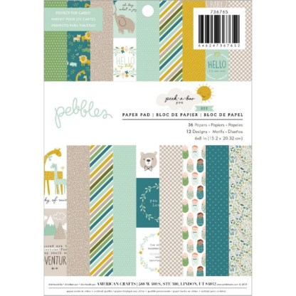 Pack de Papeles Peek A Boo You Boy, 6″ x 8″, Pebbles