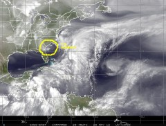 GOES satellite image of 20 May 2012 showing water vapor in the atmosphere and Tropical Storm ALBERTO the first named-storm of the 2012 Atlantic Hurricane season just east of Jacksonville Florida