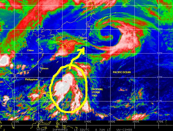 Color-enhanced infrared satellite image of June 8, 2013 showing Tropical Storm YAGI to the east of the Philippines as it moves  NNE in the general direction of southern Japan.