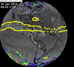 The belt of tropical activity is almost continuous across Hurricane Alley in the Atlantic and into the eastern Pacific ocean on 31 July 2013