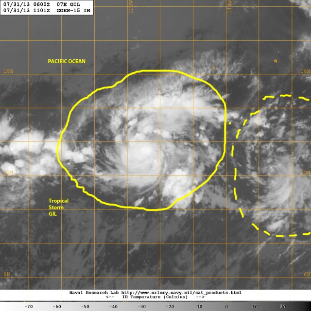 Tropical Storm GIL, the 7th named storm of the 2013  Eastern Pacific Hurricane season is following in TS FLOSSIE's footsteps on 31 July 2013