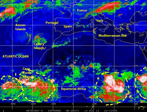 Color enhances infrared satellite image shows tropical waves moving westward over 'hurricane alley' and near the Cape Verde Islands, followed by a train of several tropical waves being generated over Equatorial Africa on 13 August 2013