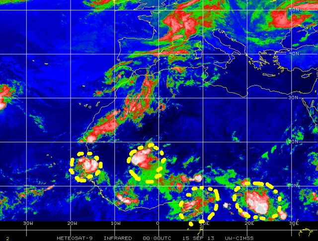A few tropical waves are shown as they move west over Equatorial Africa in this color-enhanced infrared satellite image from 14 September 2013