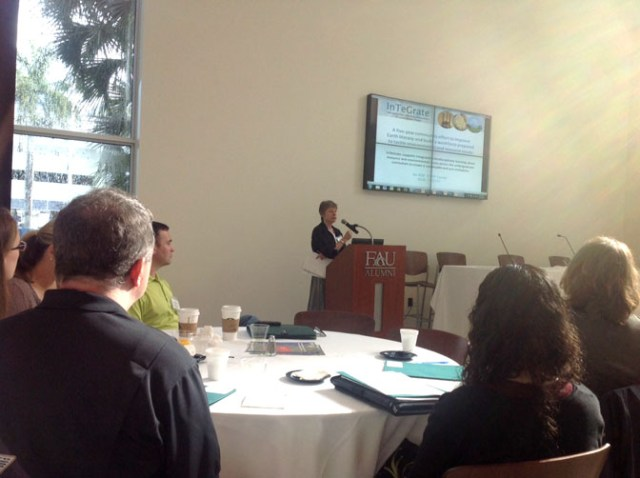 Cathy Manduca, SERC and InTeGrate project Director welcomes participants during the opening plenary session