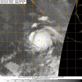 Infrared satellite image of Hurricane crISTINA in the very early morning hours of Thursday 12 June 2014