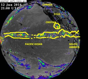 Full Earth-disk composite satellite image of 12 June 2014 over the Pacicif Ocean showing the status of the 'belt of tropical activity' there