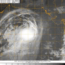 Infrared satellite image of 12 Junne 2014 showing Tropical Cyclone NANAUK overt the Arabian Sea as it moves NW toward Oman