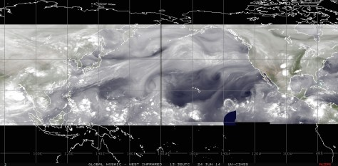 Mosaic of satellite images highlighting water-vapor in the atmosphere on Tuesday 24 June 2014, over the Pacific  basin above the  equator
