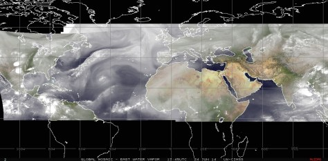 Water-vapor fileter satelite view of Earth's western hemisphere on Tuesday 24 June 2014