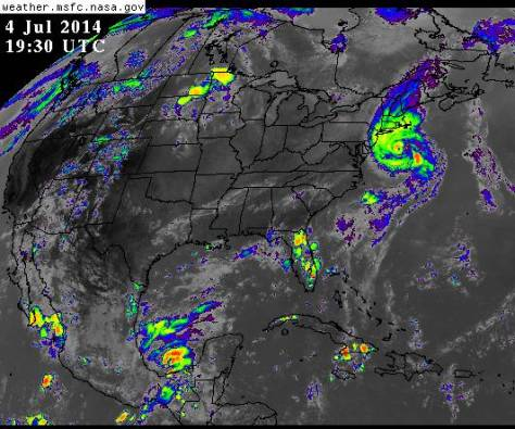 Infrared satellite view (NASA) of Hurricane ARTHUR at 1530 on 07042014