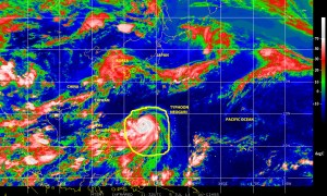 Color-enhanced infrared satellite image (NOAA) of 5 July 2014 showing Typhoon NEOGURI as it tracks NW over the Philippines Sea