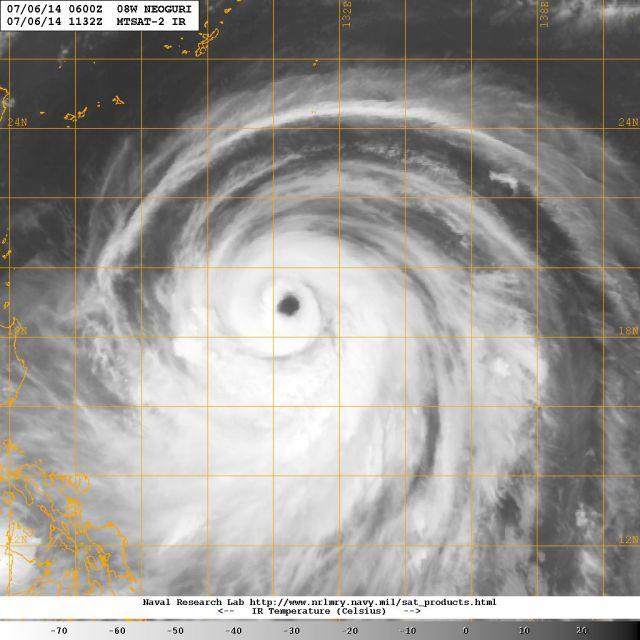 Infrared satellite image (NASA) of 6 July 2014 showing Typhoon NEOGURI in far northwestern Pacific