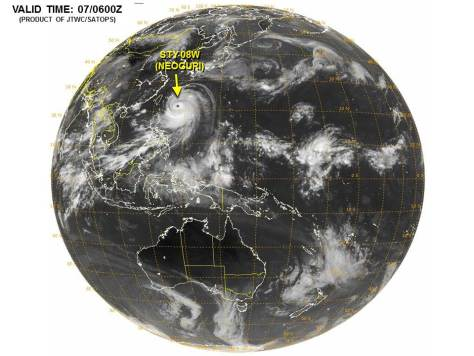 Full-disk satellite image (JTWC) showing the Pacific basin and super-typhoon NEOGURI, as well as other weather systems in the basin