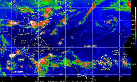 A cell of low pressure ina tropical wave is generating some bad weather southwest of the Cape Verde Islands in 'hurricane alley'  this 27 July 2014