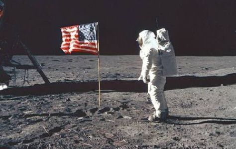 The Flag of the United States of America planted on Lunar soil in 1969