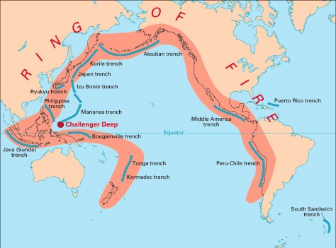 Map depicting the so-called Ring-of-Fire circumscribing the Pacific  Ocean, which is one of the most seismically active systems in the world