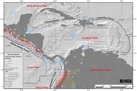 Map (USGS) showing the various tectonic plates that interact in the region affected by the 7 July 2014 MM6.9 earthquake
