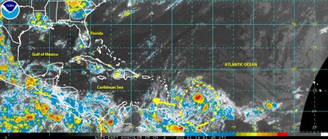 Satellite image [NOAA} for the aviation industry shows the cell of disturbed weather being monitored by the NHC as it moved toward the Caribbean late on 20 August 2014