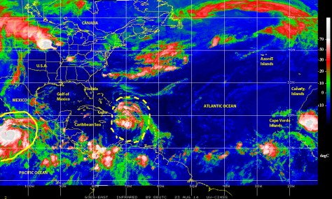 Color-enhanced infrared satellite image (NOAA) of 23 August 2014 showing the weather disturbance no near Hispaniola, which might become the 3rd named storm of the season