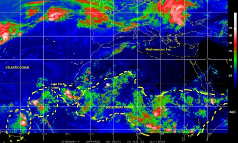 Satellite image (NOAA) of 24 August 2014 showing several disturbed weather cells populating 'hurricane alley' and the 'tropical wave assembly line' over Equatorial Africa