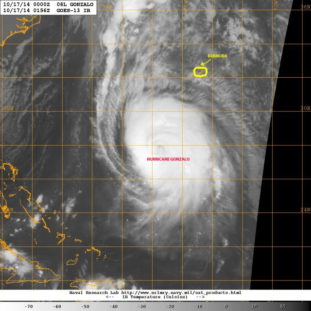 Satellite view (NASA) of major hurricane GONZALO as it approaches Bermuda in the late night of 16 October 2014. Notice the comparative sizes of the hurricane and the island.