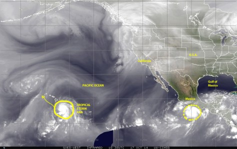 Water-vapor satellite image (NOAA) of 17 October 2014 showing tropical storm ANA as it approaches Hawaii in  the central Pacific. Also visible is the storm system approaching the Pacific coastal region of Mexico