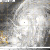 Infrared satellite image [NASA] of 2 November 2014 showing a strengthening category 3 Typhoon NURI over the Philippines Sea