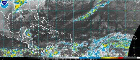 Satellite image of 16 November 2014 (NOAA) for the aviation industry (AVN) showing a rather quiet north Atlantic basin in terms of tropical cyclone activity
