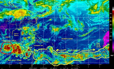 Infrared GOES EAST [NOAA] satellite image of 11 June 2015 showing Tropical Storm CARLOS in the Eastern Pacific and other disturbed weather cells in the sub-basin and along 'hurricane alley'