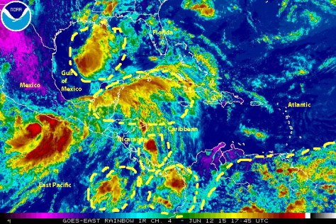 Infrared GOEST-EAST Satellite image [NOAA} showing various weather disturbances over the Gulf of Mexico, the northwestern Caribbean, the offshore Pacific waters off Central America, and northern South America, and 'Hurricane alley'