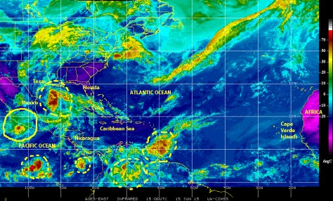 Infrared GOES-EAST satellite image of 15 June showing the storm in the Gulf of Mexico, tropical storm Carlos, and several other disturbances yjay are active today in this region