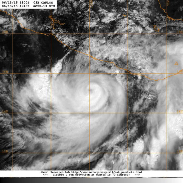 Satellite image of 13 June 2015 showing hurricane CARLOS under visible light [NASA]