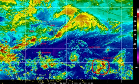 Infrared satellite image of 3 June showing a still disorganized but large and menacing rtegion of disturbed weather over the Central Pacific ocean, which is being investigated for signs of potential cyclonic development