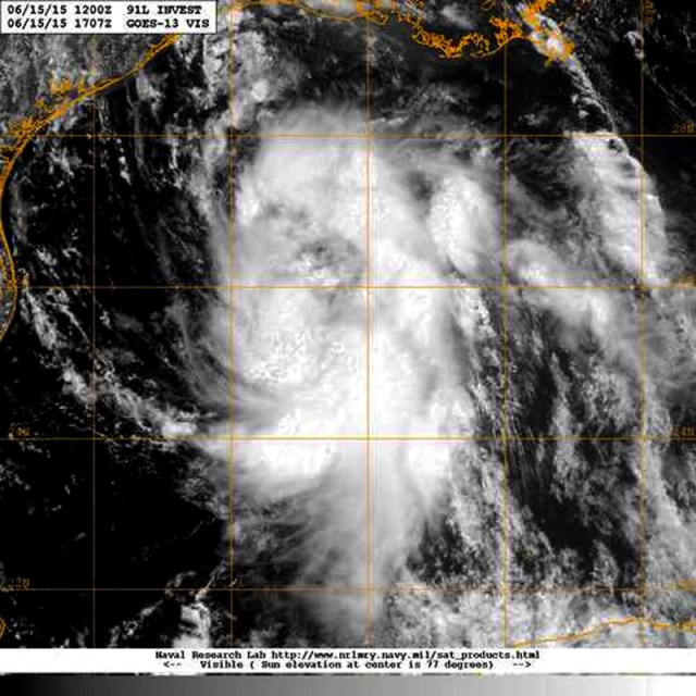 Visible light  satellite view of 15 June 2015 showing the storm brewing in the Gulf of Mexico