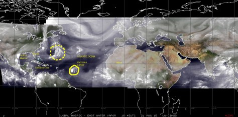 MosaIc of satellite images of 21 August 2015 showing Hurricane DANNY tracking WNW toward the Virgin Islands and Puerto Rico, and a low pressure disturbance near Bermuda in the Atlantic basin
