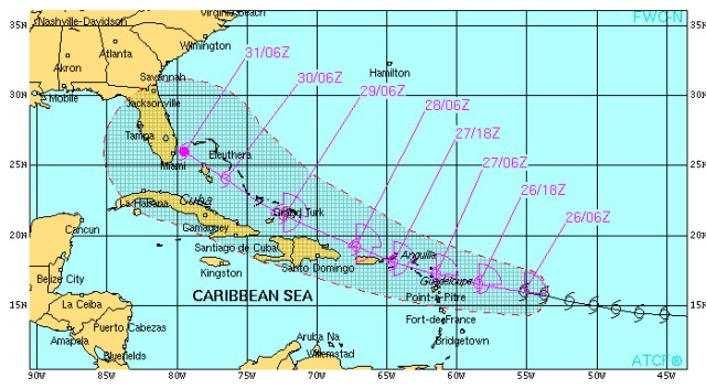 Projected track for ERIKA as of 26 August 2015 [cOURTESY OF THE u.s. nAVAL rESEARCH lABORATORY]