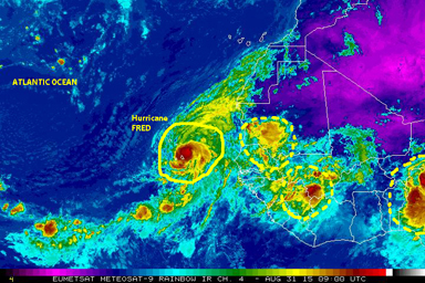 Color-enhanced satellite image [NOAA] of 31 August showing Hurricane FRED as it moves over the Cape Verde Islands