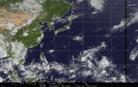 Infrared satellite image of 1 August 2015 showing Tropical Storm SOUDELOR in the northwestern Pacific approaching the Philippines Sea