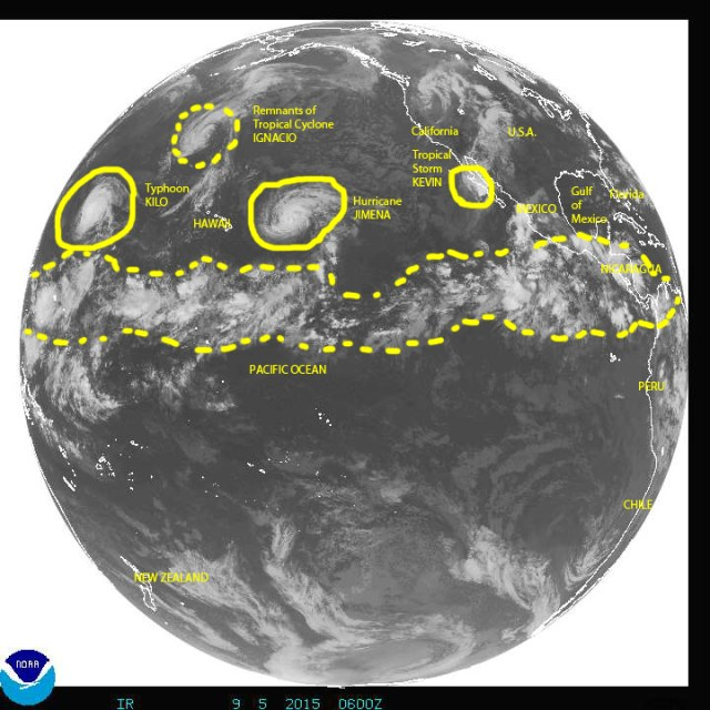 Full disk image of Earth on 09/05/2015 over the eastern and central Pacific showing plenty of cyclonic activity there