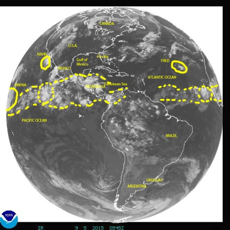 Full disk Earth image of 09/05/2015 over the Americas showing the western Atlantic and eastern Pacific oceans
